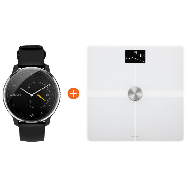 Withings Move ECG Zilver/Zwart + Withings Body + Wit