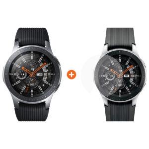 Samsung Galaxy Watch 46mm Silver + PanzerGlass Screenprotector Glas