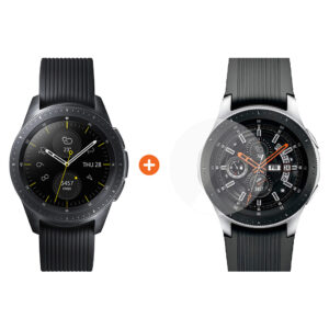 Samsung Galaxy Watch 42mm Midnight Black + PanzerGlass Screenprotector Glas