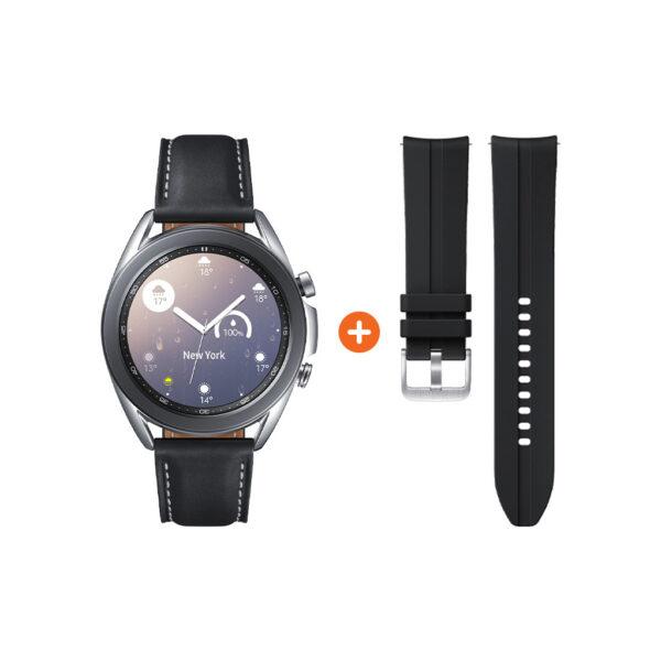 Samsung Galaxy Watch3 Zilver 41 mm + Siliconen Bandje Zwart 20mm