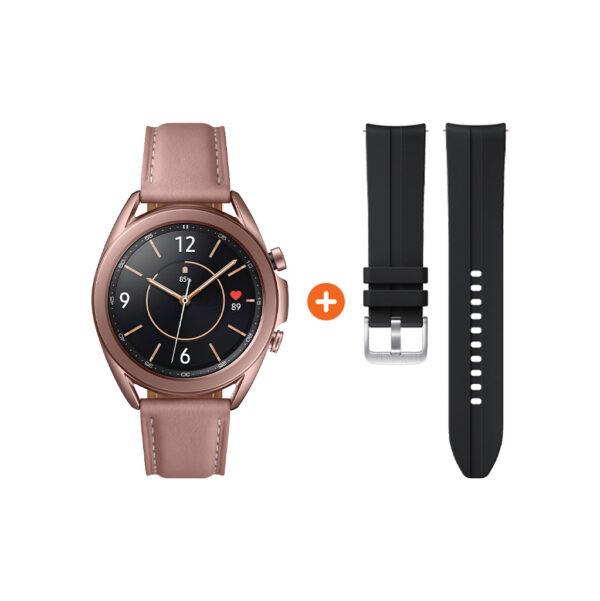 Samsung Galaxy Watch3 Goud 41 mm + Siliconen Bandje Zwart 20mm