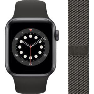 Apple Watch Series 6 40mm Space Gray Aluminium Zwarte Sportband + Milanees Grafiet