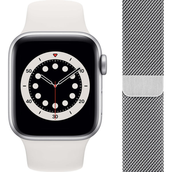 Apple Watch Series 6 40mm Zilver Aluminium Witte Sportband + Polsband Milanees Zilver