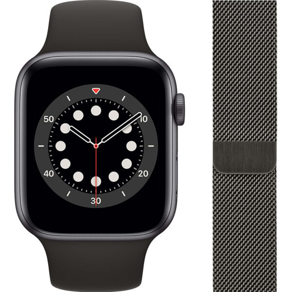 Apple Watch Series 6 44mm Space Gray Aluminium Zwarte Sportband + Milanees Grafiet