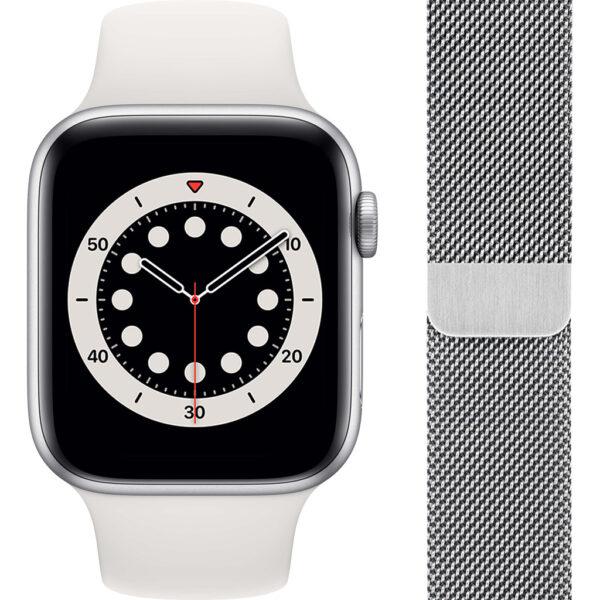 Apple Watch Series 6 44mm Zilver Aluminium Witte Sportband + Polsband Milanees Zilver