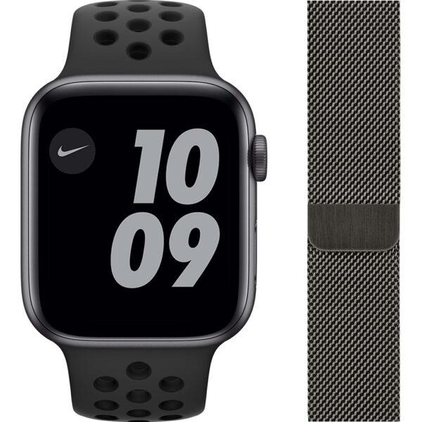 Apple Watch Nike Series 6 44mm Space Gray Aluminium Zwarte Sportband + Milanees Grafiet