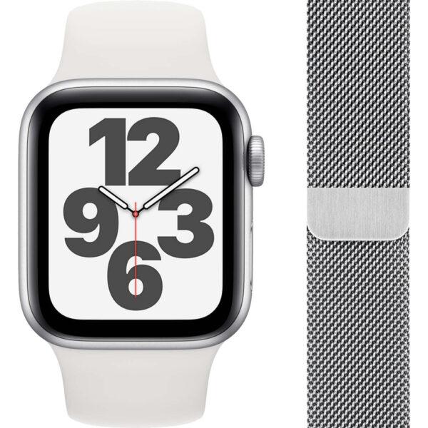 Apple Watch SE 40mm Zilver Aluminium Witte Sportband + Polsband Milanees Zilver