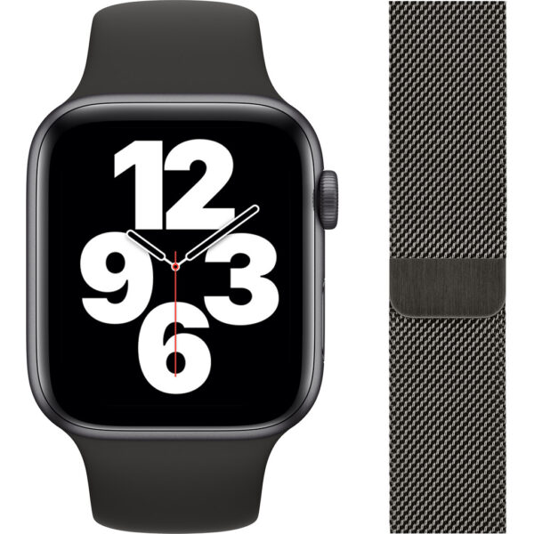 Apple Watch SE 44mm Space Gray Aluminium Zwarte Sportband + Polsband Milanees Grafiet