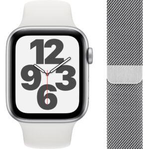 Apple Watch SE 44mm Zilver Aluminium Witte Sportband + Polsband Milanees Zilver