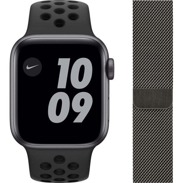 Apple Watch Nike SE 40mm Space Gray Aluminium Zwarte Sportband + Polsband Milanees Grafiet