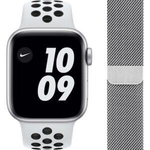 Apple Watch Nike SE 44mm Zilver Aluminium Witte Sportband + Polsband Milanees Zilver
