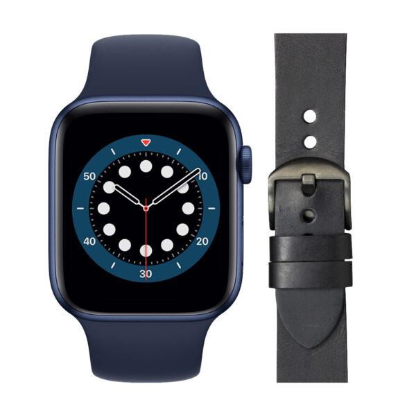 Apple Watch Series 6 44mm Blauw Blauw Bandje+ DBramante1928 Leren Bandje Zwart/Space Gray