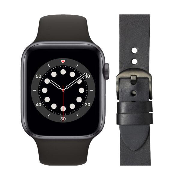 Apple Watch Series 6 44mm Space Gray Zwart Bandje + DBramante1928 Leren Bandje Zwart