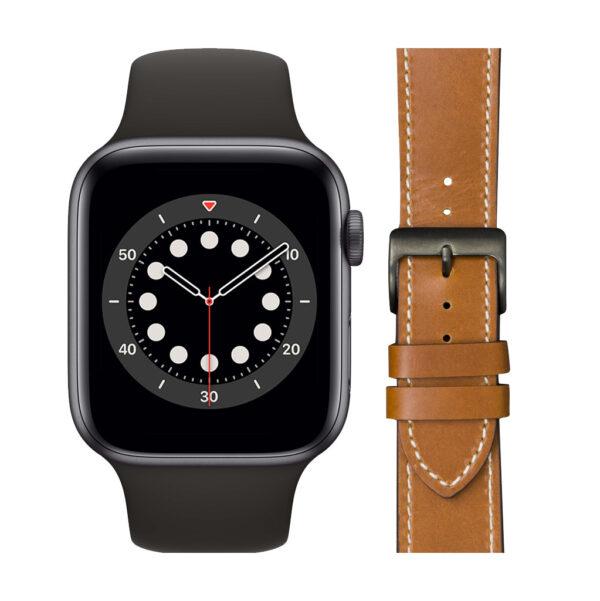 Apple Watch Series 6 44mm Space Gray Zwart Bandje + DBramante1928 Leren Bandje Bruin