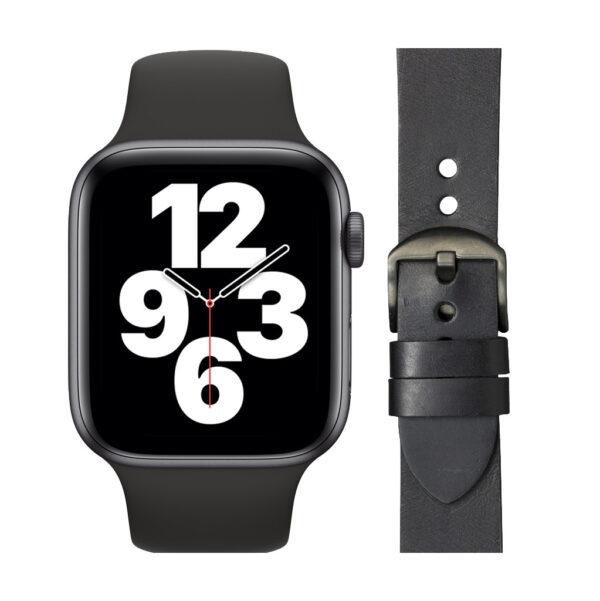 Apple Watch SE 44mm Space Gray Zwart Bandje + DBramante1928 Leren Bandje Zwart/Space Gray