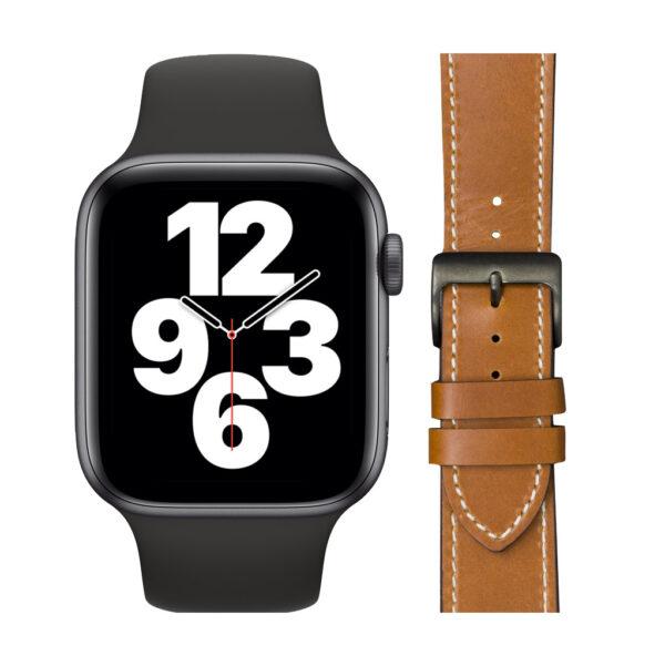 Apple Watch SE 44mm Space Gray Zwart Bandje + DBramante1928 Leren Bandje Bruin/Space Gray
