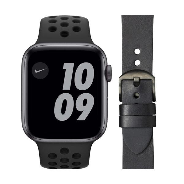 Apple Watch Nike SE 44mm Space Gray Zwart Bandje + DBramante1928 Leren Bandje Zwart
