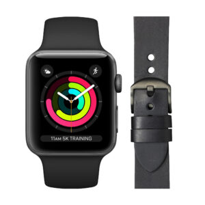Apple Watch Series 3 42mm Space Gray Zwart Bandje + DBramante1928 Leren Bandje Zwart