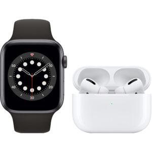 Apple Watch Series 6 44mm Space Gray Zwart Bandje + AirPods Pro met Draadloze Oplaadcase