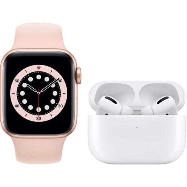 Apple Watch Series 6 40mm Roségoud Roze Bandje + AirPods Pro met Draadloze Oplaadcase