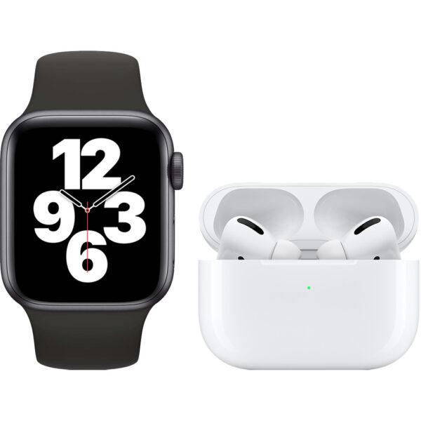 Apple Watch SE 40mm Space Gray Zwart Bandje + Apple AirPods Pro met Draadloze Oplaadcase