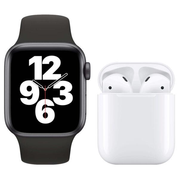 Apple Watch SE 40mm Space Gray Zwart Bandje + Apple AirPods 2 met oplaadcase