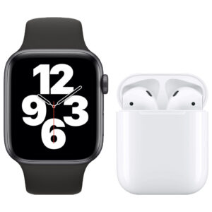 Apple Watch SE 44mm Space Gray Zwart Bandje + Apple AirPods 2 met oplaadcase