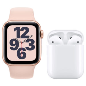 Apple Watch SE 40mm Roségoud Roze Bandje + Apple AirPods 2 met oplaadcase