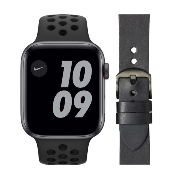 Apple Watch Nike Series 6 44mm Space Gray Zwart Bandje + DBramante1928 Leren Bandje Zwart